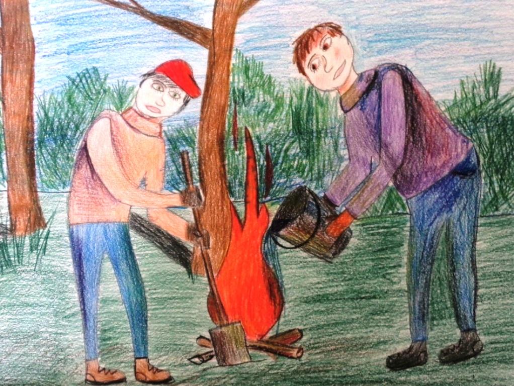 последствия тему пожаров на рисунки